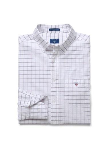 Gant Kareli Uzun Kollu Gömlek Beyaz